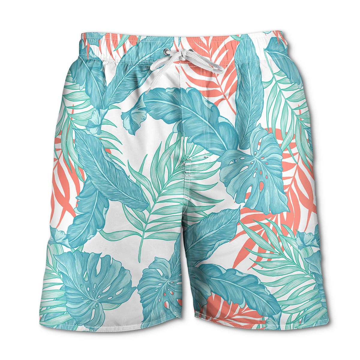 Newport Blue - Swim Shorts | Into to the Woods - Melon/White